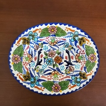 """Talavera Oval Dish, Mexican Pottery, 12"""" decorative serving plate platter"""