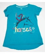SO GIRLS SIZE M 10 12 TOP RED I HEART LOVE HORSES PONYS HORSESHOES SEQUI... - $12.86