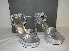 Via Spiga New Womens Aida Silver Leather Platform Heels 9 M Shoes  - $88.11