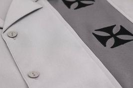 Men's Casual Two Tone Biker Cross Premium Guayabera Bowling Dress Shirt image 7