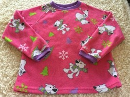 Childrens Place Girls Pink Purple White Polar Bears Fleece Pajama Shirt 5-6 - $5.00