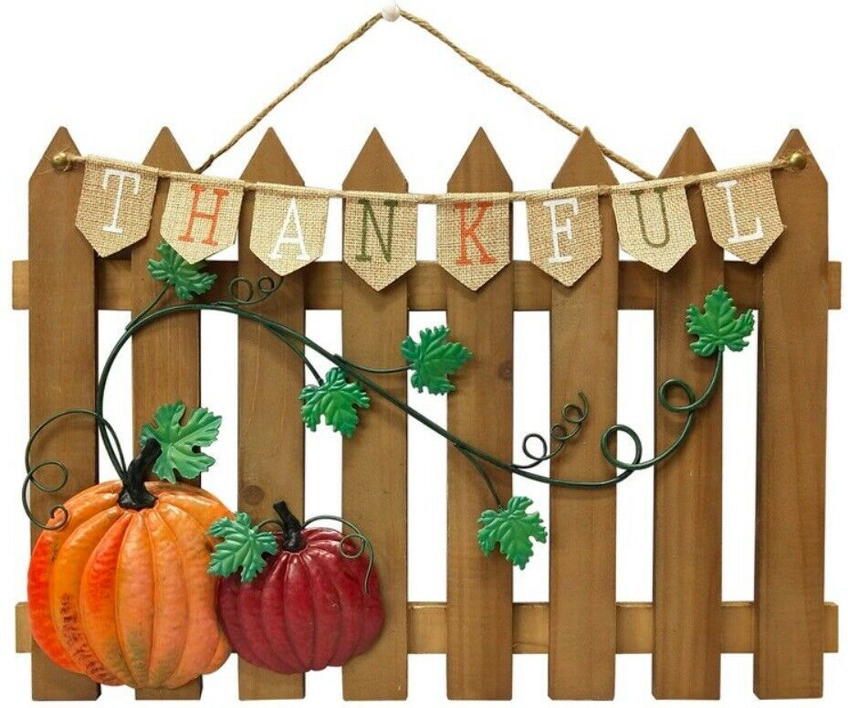 Primary image for Celebrate Fall Together Thanksgiving Fence Wall Decor  Rustic with Metal Pumpkin