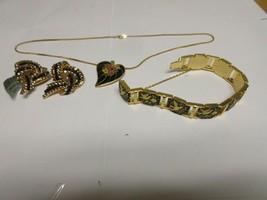 Costume Jewelry ,Vintage , Necklace , Bracelet , Cache Earrings, 3 Piece... - $75.00