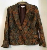 Coldwater Creek SZ 14 Multi Color Animal Print Pleated Collar Blazer Jac... - $36.62