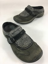 Merrell Encore Sidestep Shadow Womens 7 Gray Leather Fabric Slip-On Shoes - $47.53