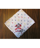 Vintage Colorful Children's Handkerchief with Embroidered Dog & Polka Dots - $9.99