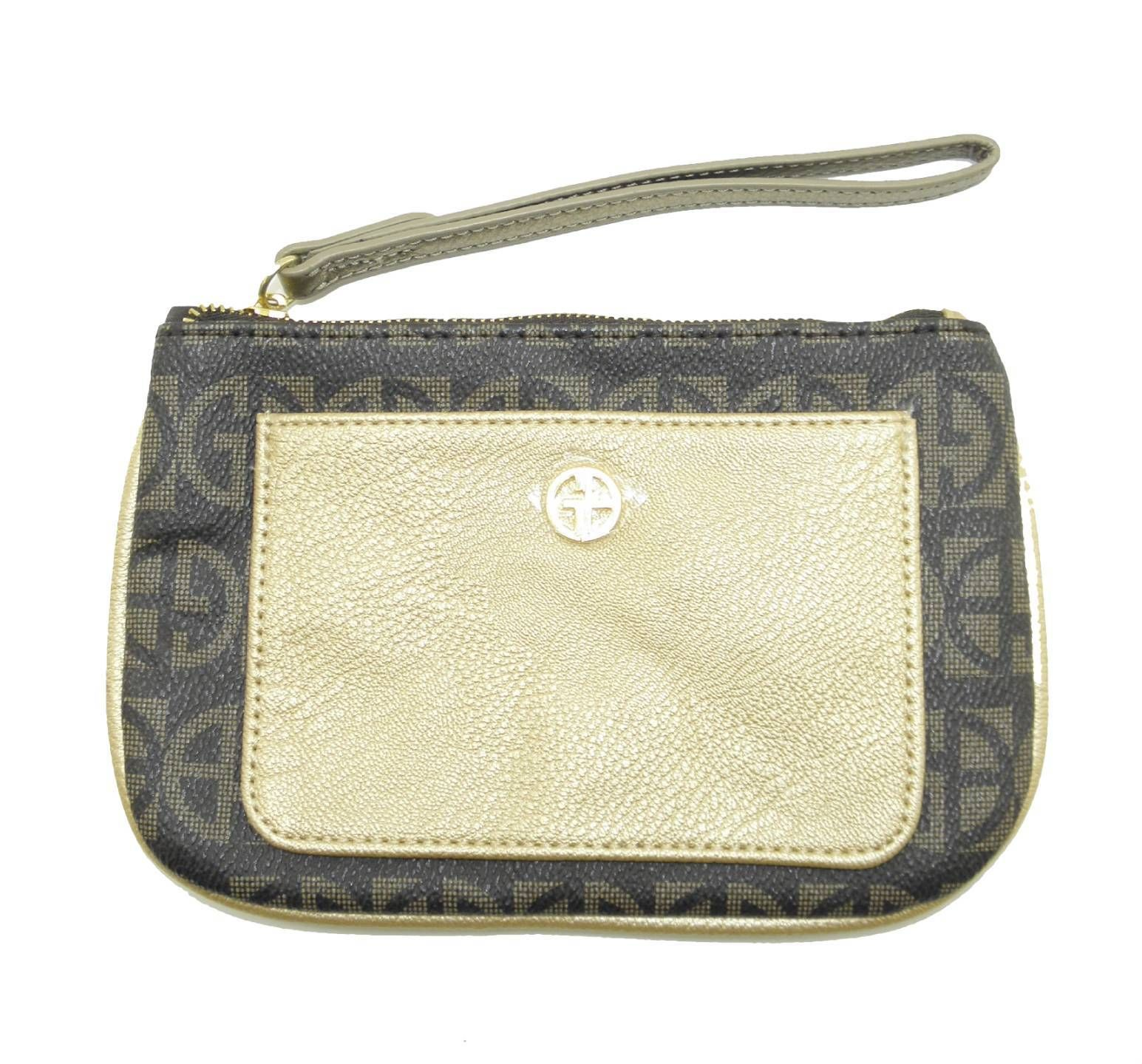 GIANI BERNINI BROWN GOLD SIGNATURE COATED CANVAS WRISTLET IPHONE CELL WALLET BAG