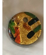 Estate Iridescent Gold Colored w Green & Orange & Blue Fused Art Glass C... - $10.39