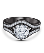 14k Black Gold Finish 925 Sterling Silver Womens Wedding Engagement Prom... - £57.85 GBP