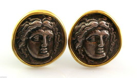 GORGEOUS Vintage SIGNED Mixed Metals Neo Classical FACE Design CUFFLINKS - $45.58