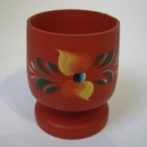Painted Wood Egg Cup Floral Vintage Footed Collectible Red Yellow Green ... - $18.00