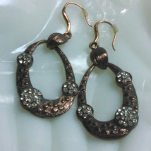 Bronze Tone Dangle Earrings Accented with Clear Rhinestones - $8.00