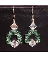 Erinite / Green Crystal Handmade  Wire Wrap Earrings - $14.99