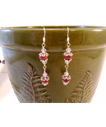 Ruby and Crystal Drop Sterling Wire Wrap Earrings w/ Metal Bead caps - $12.00