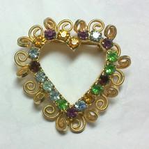 Vintage Gold Tone Rhinestone Heart Brooch image 1