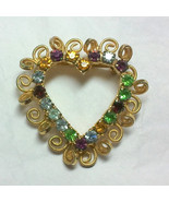 Vintage Gold Tone Rhinestone Heart Brooch - $8.99