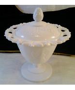 Vintage Grape & Vine Lace Edge Pedestal Milk Glass Candy Dish Bowl w/Lid - $12.00