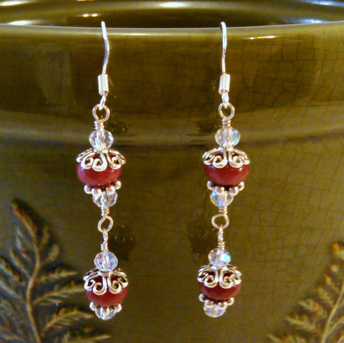 Ruby and Crystal Drop Sterling Wire Wrap Earrings w/ Metal Bead caps
