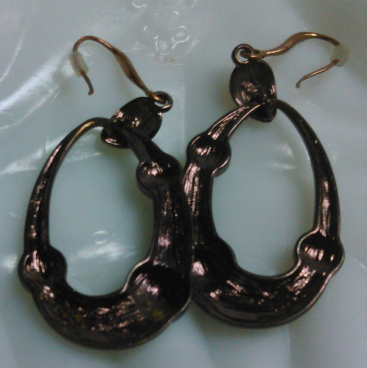 Bronze Tone Dangle Earrings Accented with Clear Rhinestones