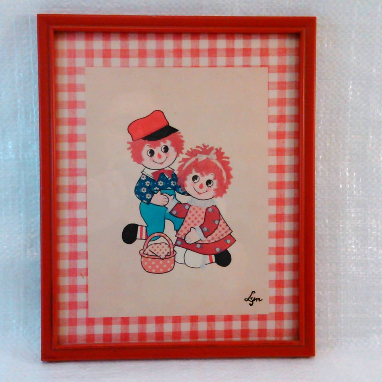 "Vintage Print ""Rag Dolls"" by Lyn 8 1/2 x 10 1/2 Framed"
