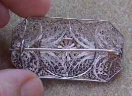 Silver Edwardian Filigree Brooch image 2