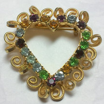 Vintage Gold Tone Rhinestone Heart Brooch image 2