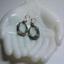 Bronze Tone Dangle Earrings Accented with Clear Rhinestones image 3