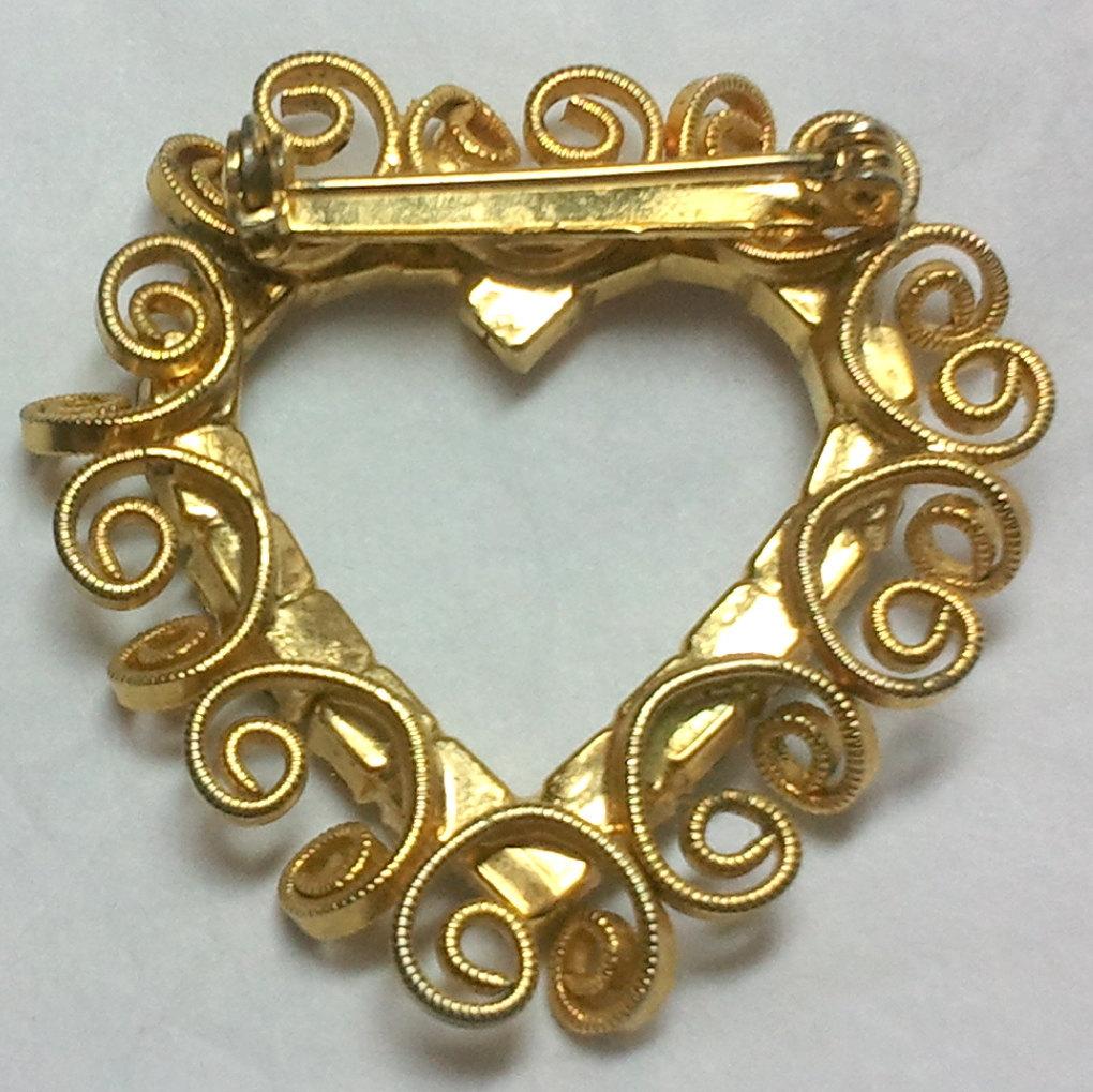 Vintage Gold Tone Rhinestone Heart Brooch