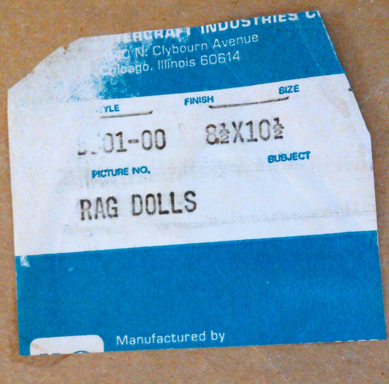 """Vintage Print """"Rag Dolls"""" by Lyn 8 1/2 x 10 1/2 Framed"""