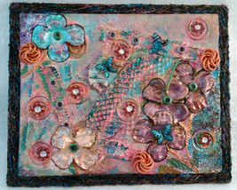 "Shabby Mixed Media Collage Assemblage ""Spring Fling"" on Canvas Board Mul... - $40.00"