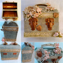 Shabby Altered Small Metal Box W/ Handle, Roman... - $25.00