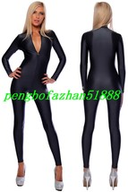 Sexy Front Zipper Body Suit Black Lycra Spandex Suit Catsuit Costumes S874 - $32.99
