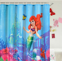 LITTLE MERMAID CARTOON Design Bathroom Use 180 x 180 cm Polyester Shower... - $26.99