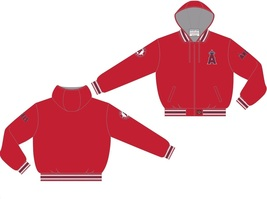 Anaheim Angels Adult Ripstop Nylon Hooded Jacket ANG 9N3 HOD3 RED - $72.95