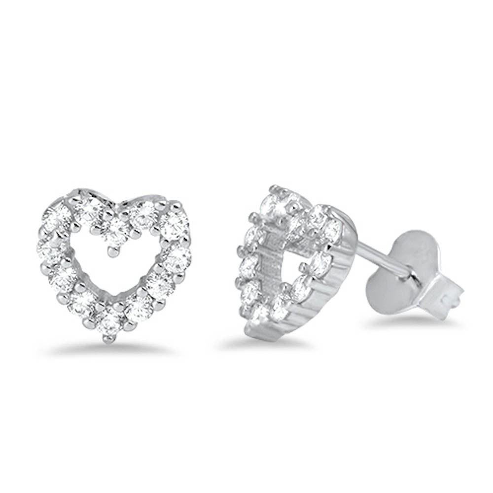 Primary image for Cz Heart Stud .925 Sterling Silver Earrings