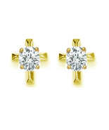 Cz cross Stud .925 Sterling Silver Earrings silver & 14k yellow gold plated - $13.93
