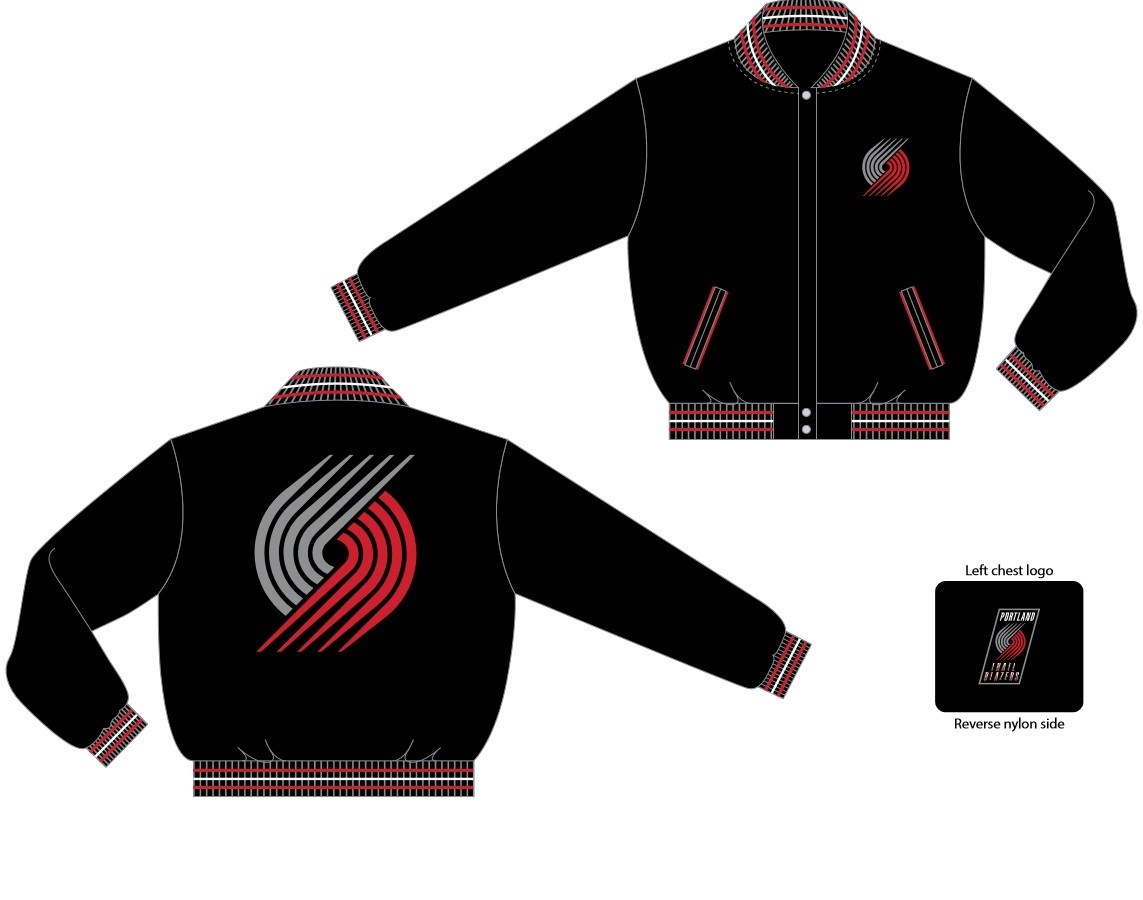 Portland trailblazers wool reversible jacket bla 103 rev0 blk