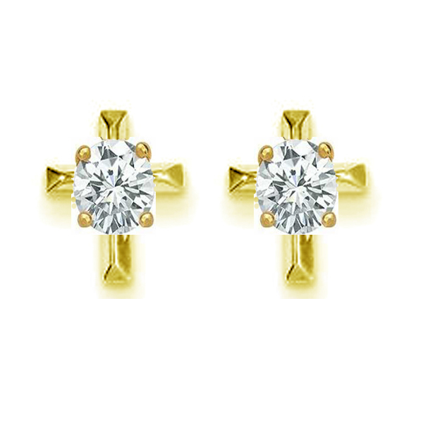 Primary image for Cz cross Stud .925 Sterling Silver Earrings silver & 14k yellow gold plated