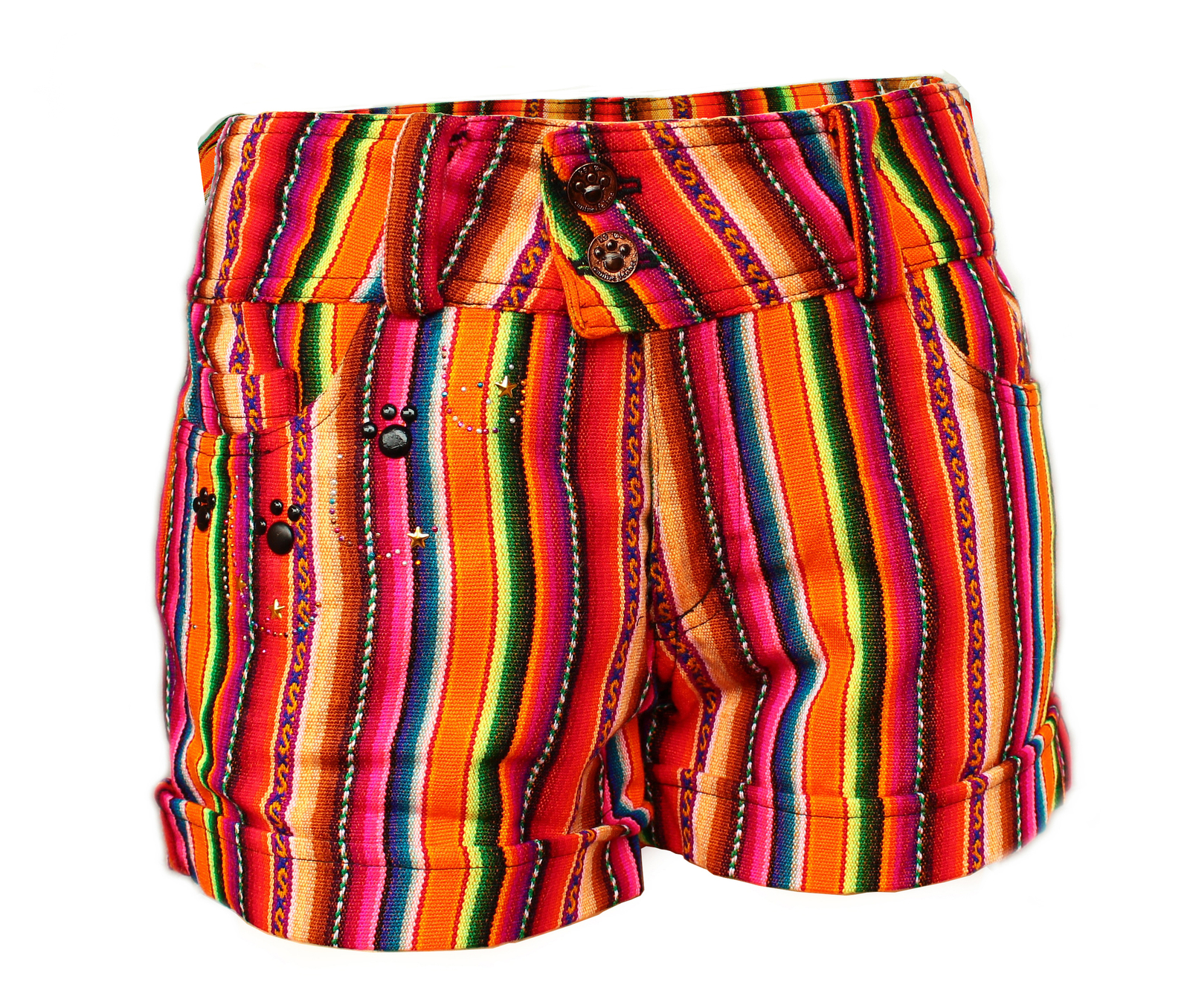 Primary image for Peruvian shorts, Multicolor, Andean fabric, low rise, low waist, Boho shorts