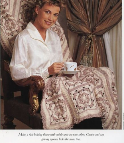 Primary image for Tan Tiles Throw Afghan Vanna Crochet Pattern/Instructions Leaflet NEW RARE