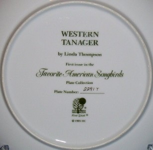 Hamilton Western Tanager Collector Plate Favorite American Songbirds 1985