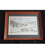 "Harold E. Hansen ""Farm in Winter"" Signed, Framed  Lithograph - $40.00"