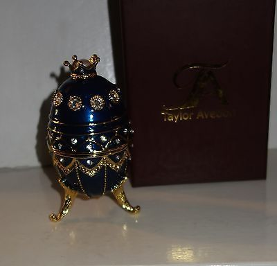 Taylor Avedon blue gold Enameled Crystal Accented EGG Music Trinket Box - New