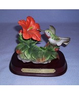 Wellington Collection Ruby Throated Hummingbird & Red Hibiscus Flower Fi... - $19.99