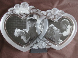 "Mikasa Crystal Rosemont 11"" Double Heart Picture Frame Retired Design - $20.99"