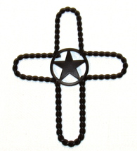 Metal Rustic Star in Rope Cross Wall Hanging