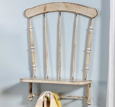 "19.8"" Distressed Look White Metal Chair Design ... - $74.44"