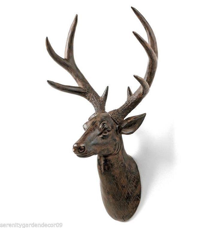 "23"" Rustic Brown Deer Head Mount Wall Decor Polyresin"