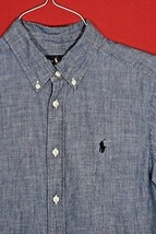 Ralph Lauren Ls Button Shirt Front Blue Lightweight Chambray Blue Boys L 14 - 16 - $13.81