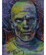 original ACEO drawing Halloween vintage horror movie the mummy boris kar... - $25.99